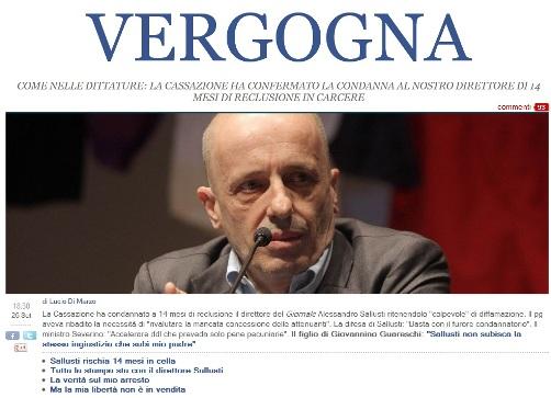 FUORI PROCIDA:Solidarietà ad un amico, Alessandro Sallusti. Arrestato oggi